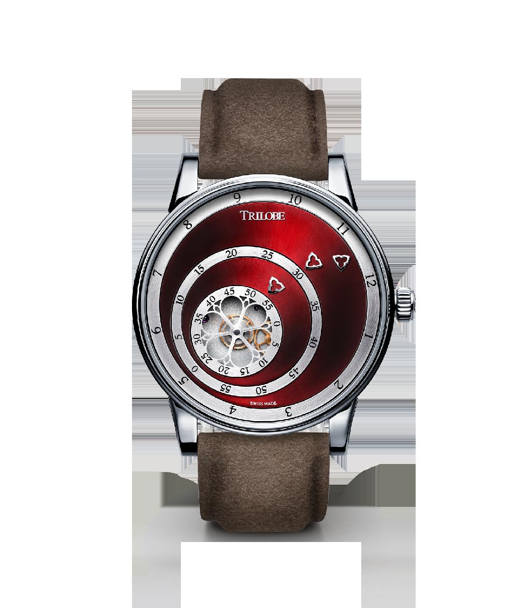 Soldat d'une montre automatique Trilobe de la collection Les Matinaux avec un cadran Carmin Soleillé