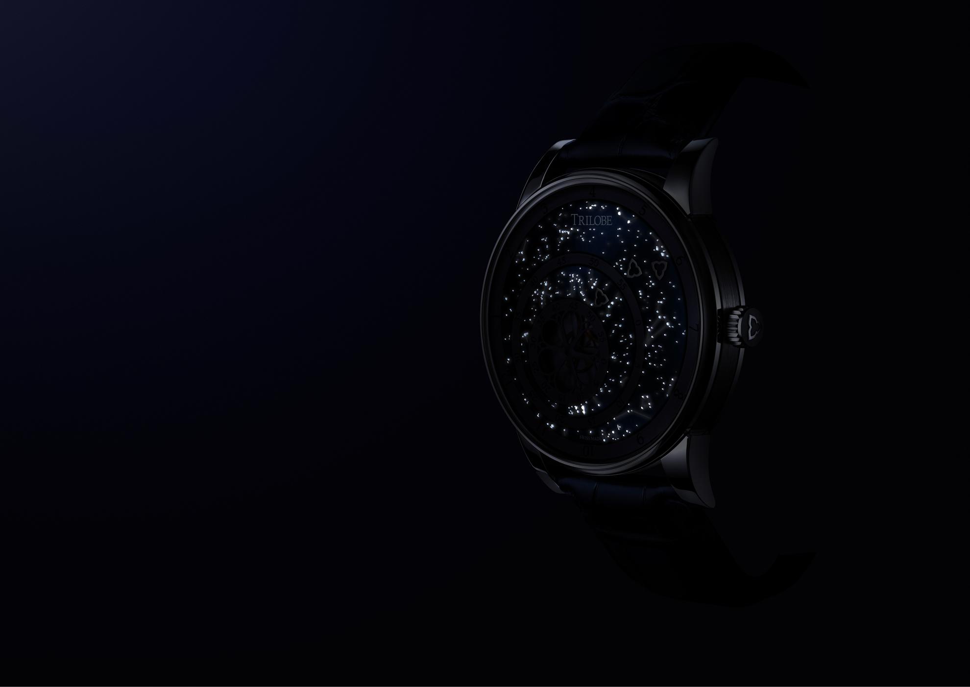 Vue de nuit du cadran de la montre automatique Secret : une carte du ciel réalisée sur-mesure par croissance 3D de Superluminova