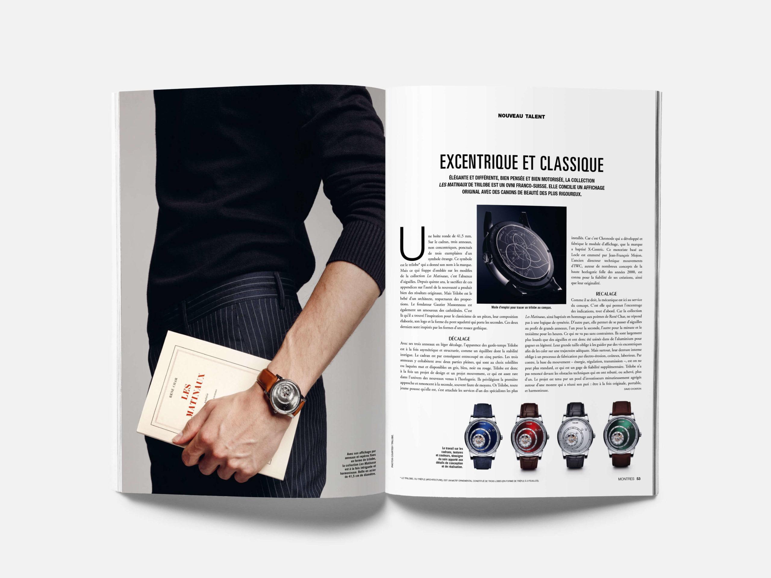 Article sur la marque de montres de luxe Trilobe dans Montres Magazine