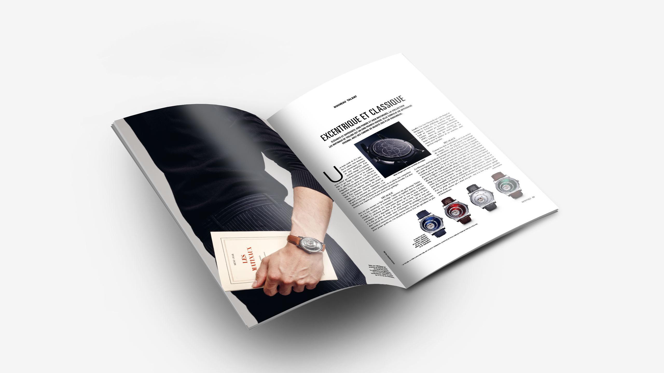 Article sur la marque de montres de luxe Trilobe dans le magazine Montres Magazine