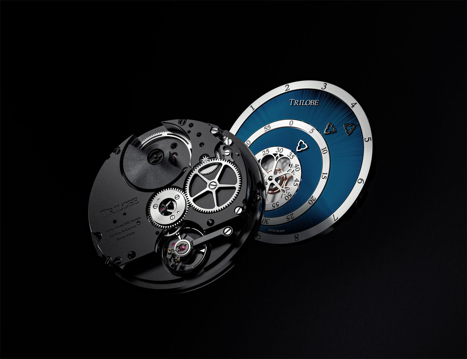Vue de face et de dos d'une montre automatique Trilobe