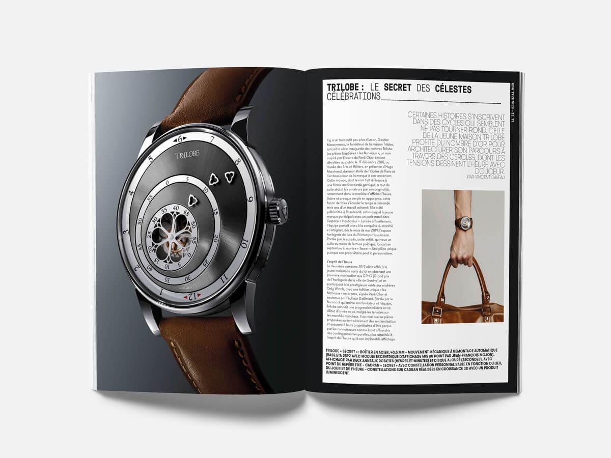 Article sur la marque de montres de luxe Trilobe dans le magazine La Revue des Montres