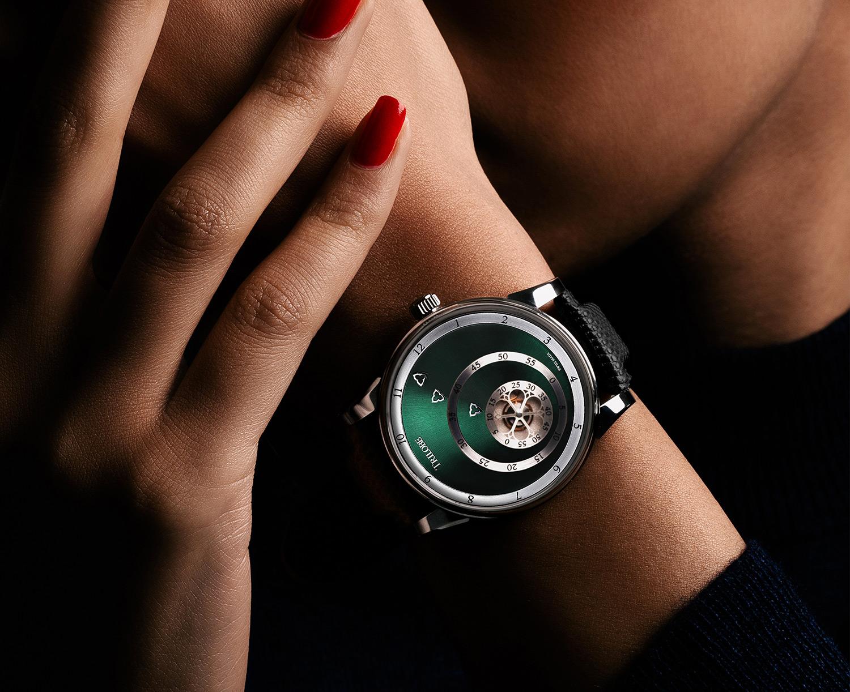 Montre automatique Trilobe de la Collection Les Matinaux avec un cadran Vert Soleillé et un boîtier de taille 38,5mm