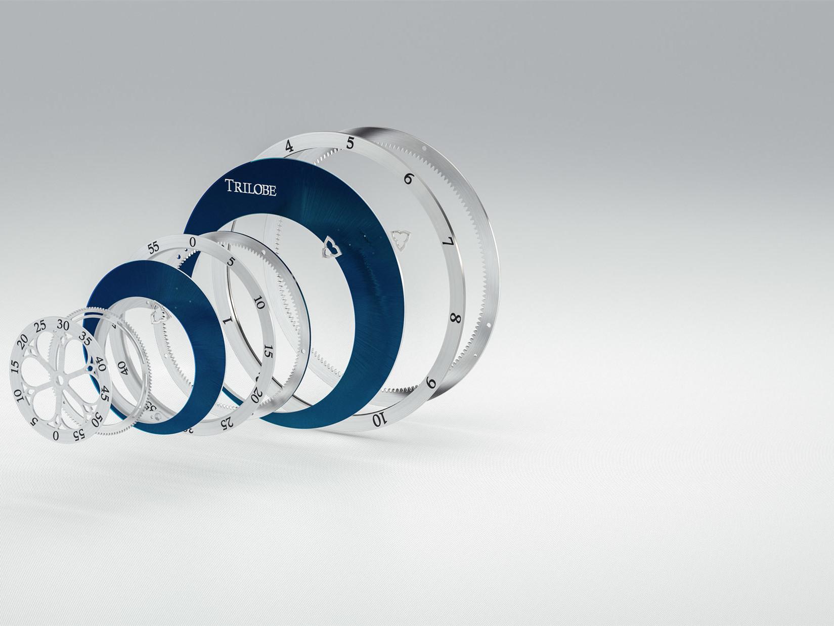 Vue éclatée du cadran d'une montre Trilobe composé de 3 anneaux portant chacun une composante du temps.