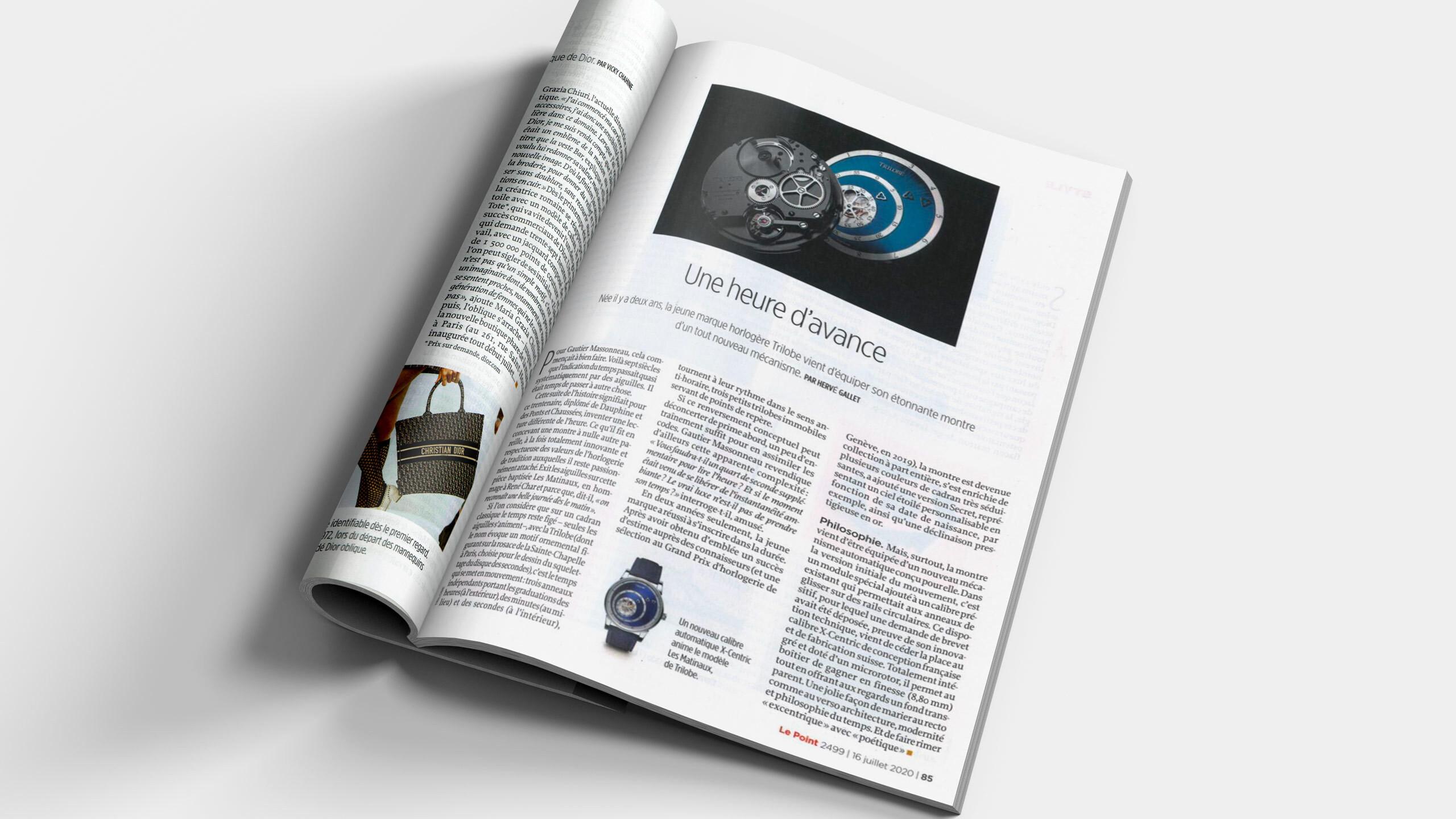 Article sur la marque de montres de luxe Trilobe dans le magazine Le Point