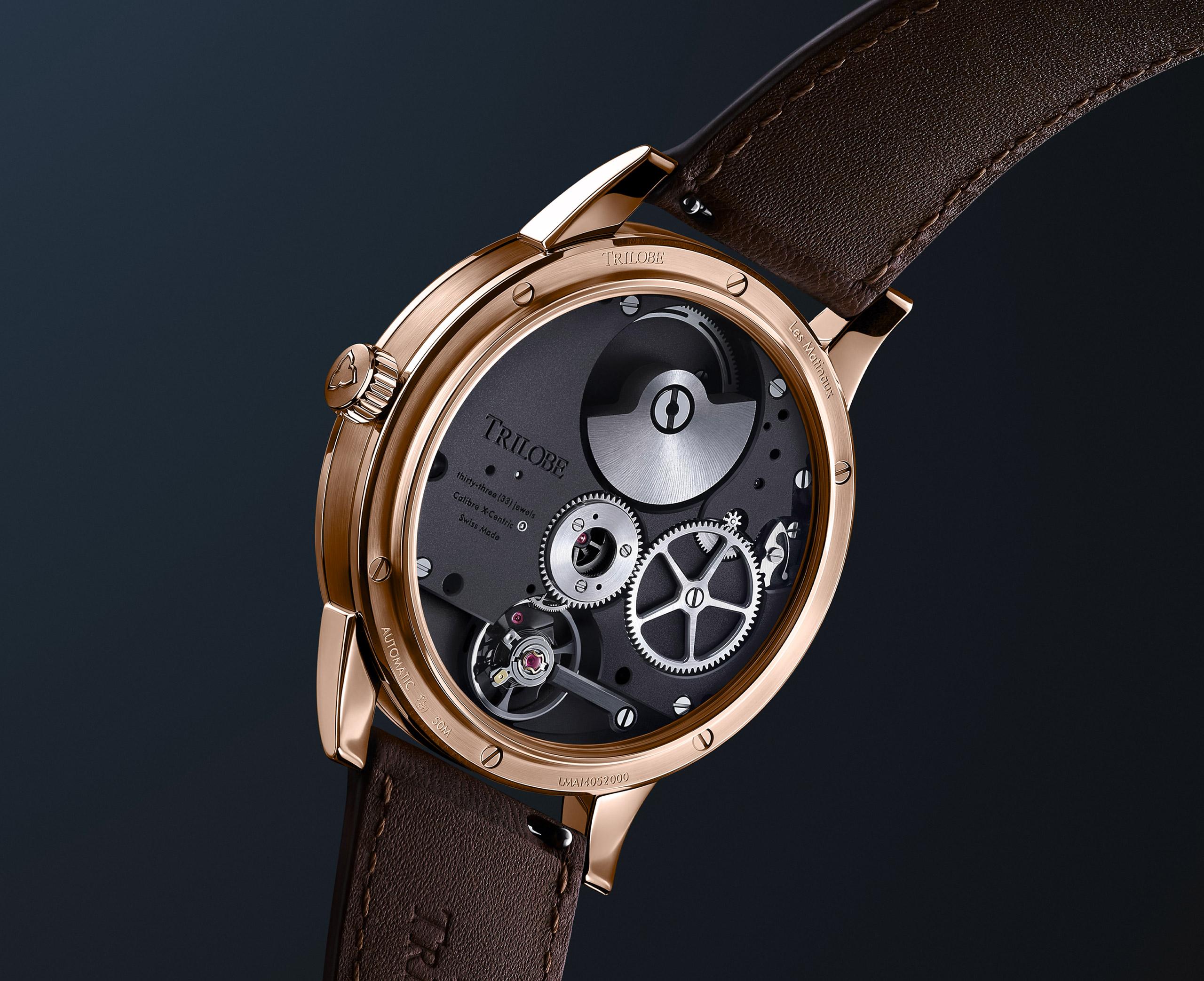 Montre automatique Trilobe de la Collection Les Matinaux avec un cadran Argent Soleillé et un boîtier en Or Rose