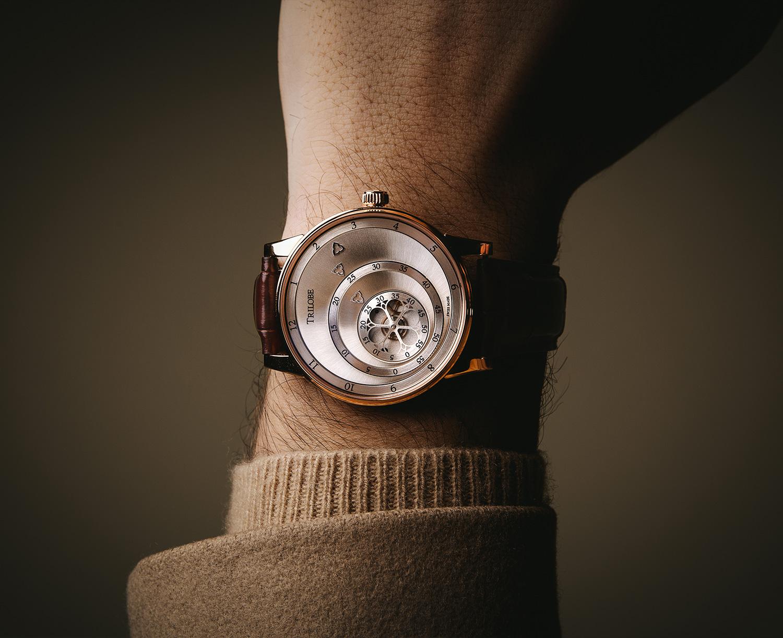 Montre automatique Trilobe de la Collection Les Matinaux avec un cadran Argent Soleillé et un boîtier de taille 40,5mm en or rose