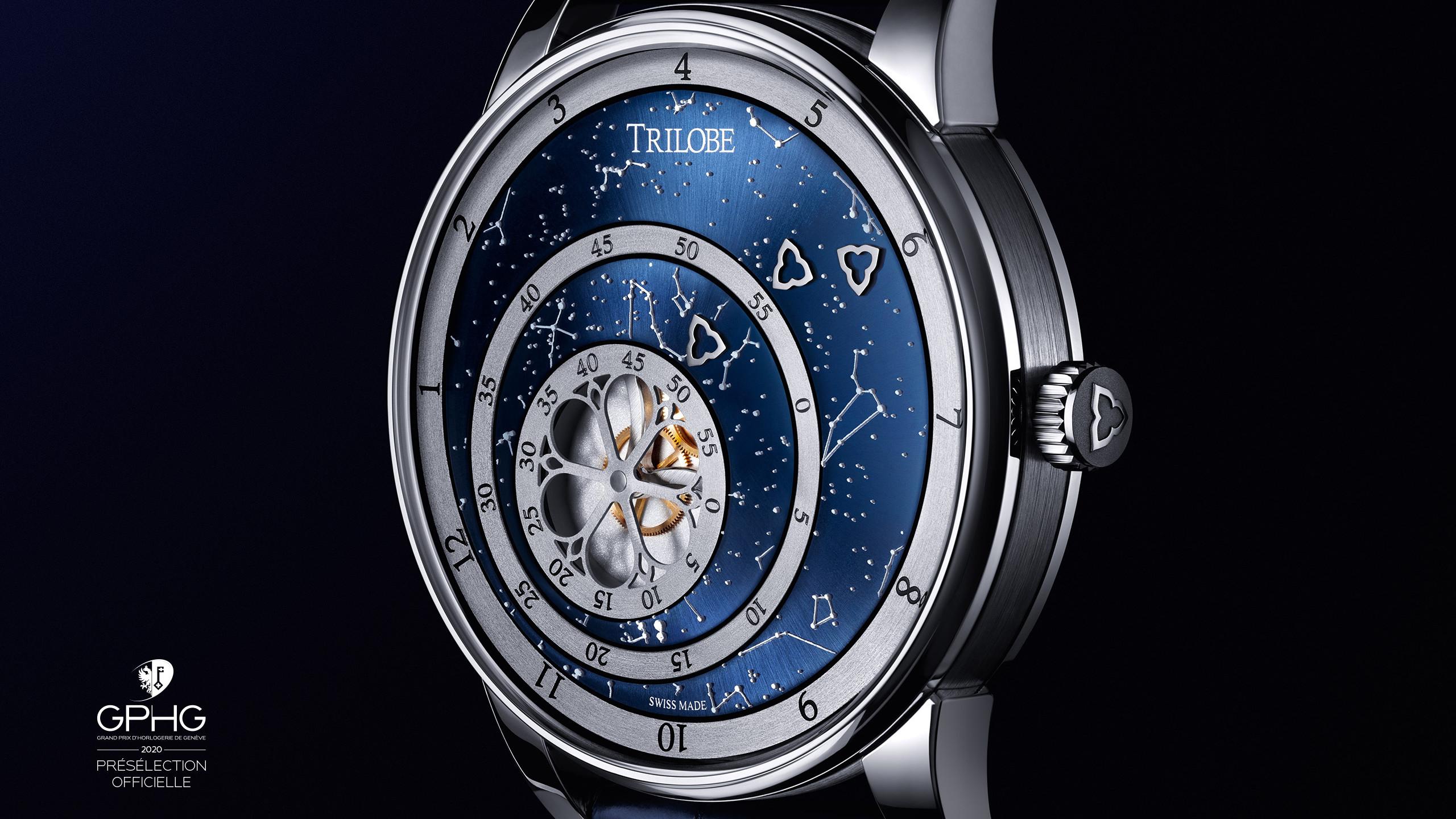 Vue de jour de la montre Secret, une montre automatique Trilobe avec un cadran sur-mesure : une carte du ciel réalisée par croissance 3D de superluminova