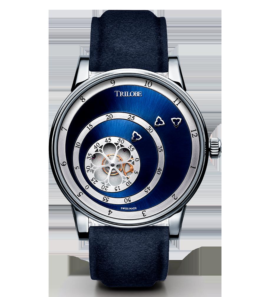Soldat d'une montre automatique Trilobe de la collection Les Matinaux avec un cadran Bleu Soleillé