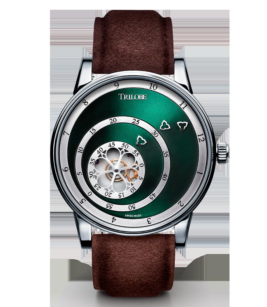 Soldat d'une montre automatique Trilobe de la collection Les Matinaux avec un cadran Vert Soleillé
