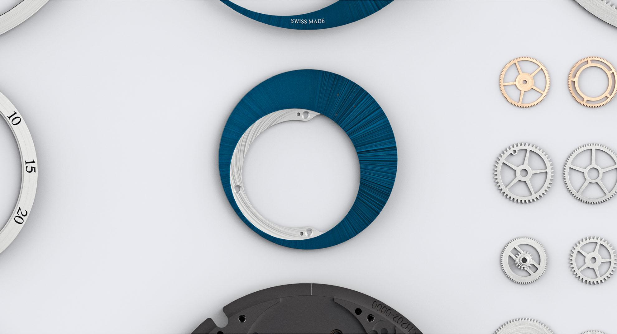 Vue des différentes pièces du mouvement et du cadran de la montre automatique Trilobe