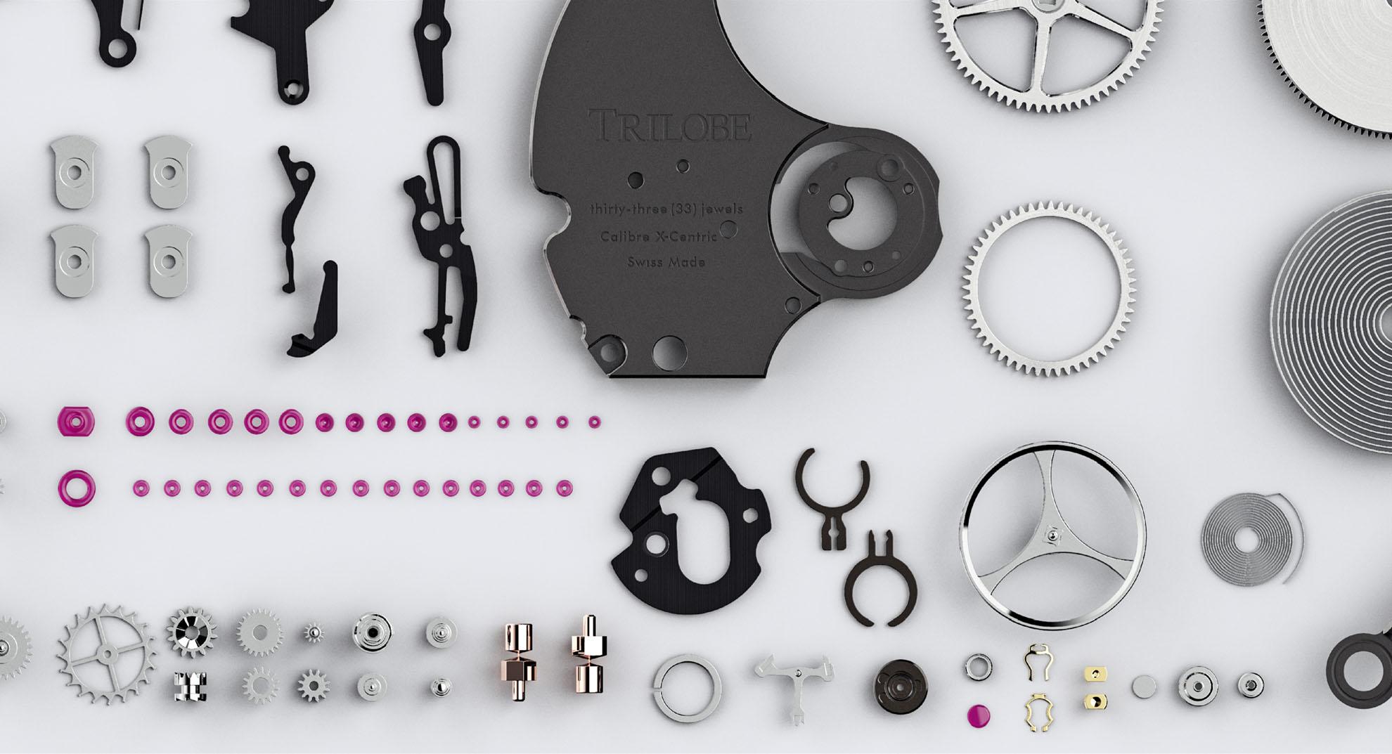 Vue des différentes pièces du mouvement de la montre automatique Trilobe