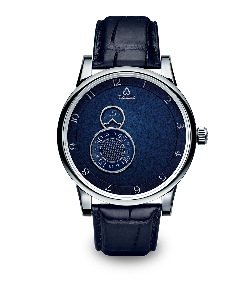 Montre Trilobe de la collection Nuit Fantastique, bleu grainé.