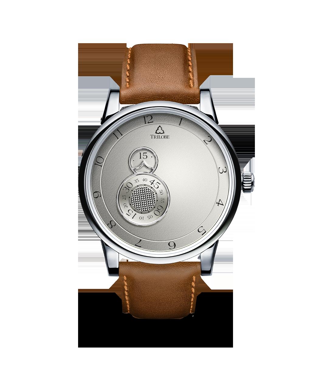 Montre Trilobe de la collection Nuit Fantastique, argent grainé.