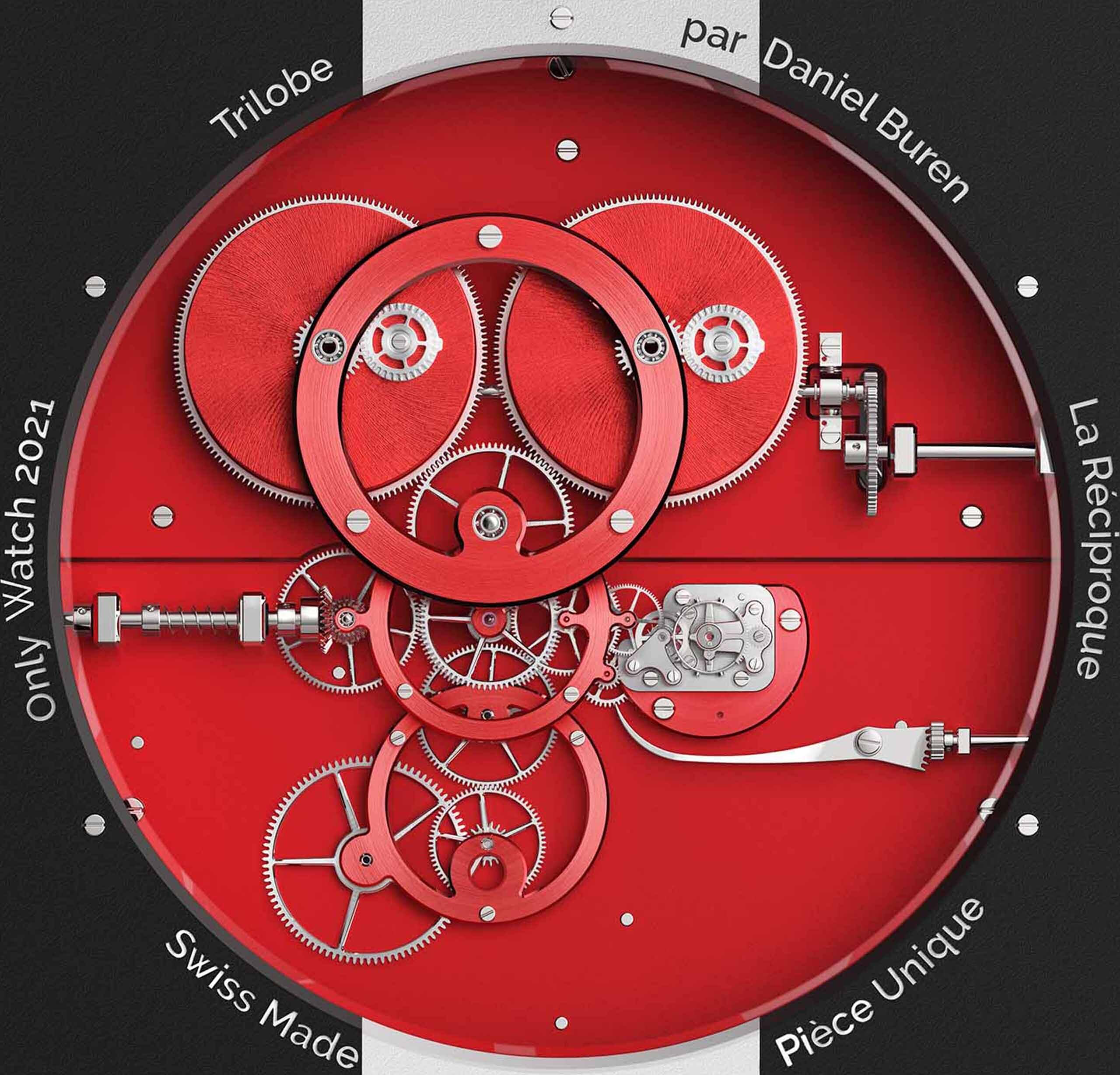 Mouvement de l'Horloge Trilobe par Daniel Buren, La Réciproque, développée à l'occasion de la vente Only Watch 2021